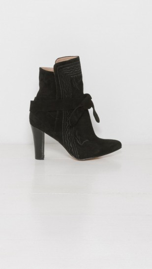 Ulla Johnson Embroidered Aggie Boot. Black leather statement booties | heeled ankle boots | autumn footwear | high heel boots | chic winter fashion accessories