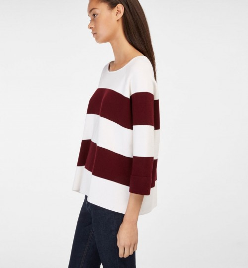 Massimo Dutti Burgundy Striped Cape-Style Sweater ~ dark red ...