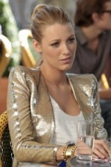 Serena van der Woodsen style gold metallic jacket ~ gossip girl fashion ~ Serena's jackets ~ luxe style