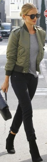 Rosie green bomber. Models off duty | celebrity casual chic | inspirational street style outfits