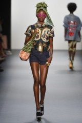 Xuly.Bët Ready to Wear Spring/Summer 2017 at NYFW ~ models on the catwalk ~ dark blue denim shorts ~ funky outfits ~ mixed prints ~ accessories ~ oversized head wraps ~ platform shoes ~ holiday fashion ~ pink sunglasses ~ printed beach bags
