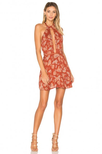 ALE BY ALESSANDRA X REVOLVE BIA DRESS in red daffodil. Floral halterneck | plunge front keyhole dresses