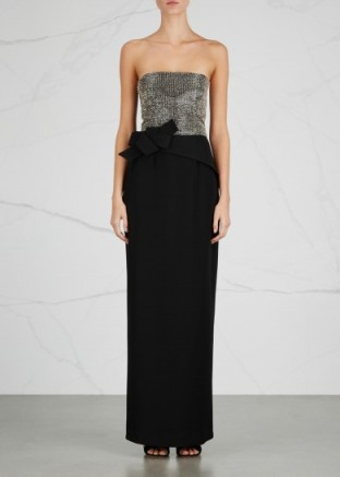 ARMANI COLLEZIONI Black strapless bead-embellished gown – red carpet style gowns