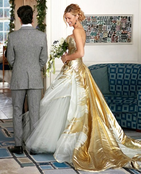 Serena van der Woodsen's gold tulle couture wedding gown by Georges Chakra - flipped