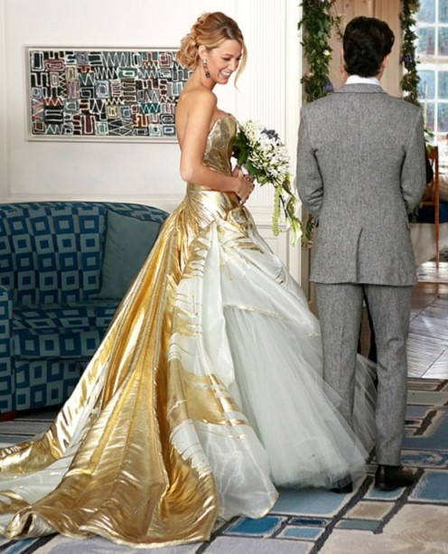 Serena van der Woodsen's gold tulle couture wedding gown by Georges Chakra