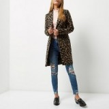 River Island Brown leopard print wool overcoat – glamorous animal prints – autumn/winter coats