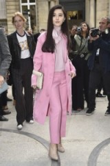 Stylish Chinese actress Fan BingBing attends the Valentino SS17 show at PFW wearing a pink outfit from the Resort 2017 collection