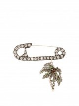 SONIA RYKIEL Crystal-embellished safety pin and palm tree brooch – large designer brooches – coloured crystals – statement jewellery – eye-catching accessories
