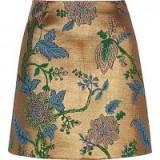 River Island Gold floral embroidered mini skirt – jacquard skirts – autumn/winter fashion – rich seasonal fabrics