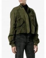 HAIDER ACKERMANN Quilted Cotton Bomber Jacket | Khaki-green jackets | on trend outerwear | designer fashion