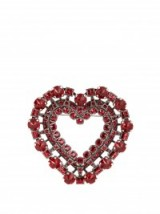 LANVIN Heart shape red crystal brooch – large brooches – jewellery – designer accessories – hearts