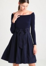 Lauren Ralph Lauren TAMEKA Navy Off The Shoulder Dress – Bardot Party Dresses