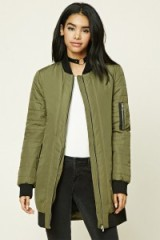 Forever 21 Longline Ribbed Bomber Jacket in Olive. On-trend green jackets | autumn/winter fashion | casual outerwear
