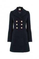 Oasis Marie Navy Military Coat – smart blue winter coats – stylish outerwear – autumn fashion