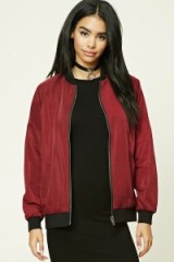 Forever 21 Reversible Bomber Jacket in wine/black. On-trend outerwear | trending red jackets | affordable fashion