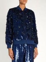 ASHISH Sequin-embellished blue silk bomber jacket