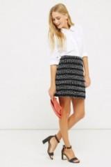 Oasis Stripe Popcorn Mini Skirt – bouclé skirts – autumn/winter fashion