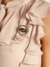 ALEXANDER MCQUEEN Swarovski-crystal evil eye faux pearl brooch – statement brooches – designer accessories – pearls & crystals