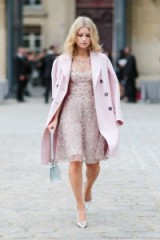 Lotte Moss at Paris Fashion Week ~ Women with style ~ beautiful outfits ~ pink coats and dresses