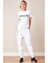 Goddiva x Alina Tsevina white joggers with zips ~ casual fashion ~ weekend style trousers