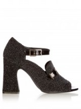 ERDEM Amaris black glitter pumps ~ glittering block heel shoes