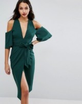 ASOS Cold Shoulder Kimono Tie Pencil Dress, green evening dresses, fitted fashion, glamour, glamorous