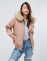 ASOS Padded Pink Bomber Jacket with Faux Fur Hood. Casual jackets | winter outerwear | on trend weekend fashion