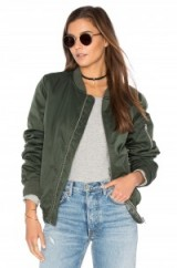 BB DAKOTA ATWOOD JACKET in Army Green. Bomber jackets | on-trend fashion | trending outerwear