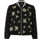 river island black bead embellished bomber jacket. Floral embellishments | beaded jackets | jewelled outerwear | on-trend fashion