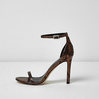 River Island bronze scale barely there heeled sandals – ankle strap high heels – stiletto heel sandal – party shoes – going out fashion – evening accessories – snake print – glamorous animal prints