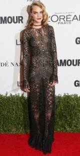 Cara Delevingne wearing a see-through Elie Saab dress ~ 2016 Glamour Women of the Year Awards