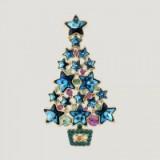 Butler & Wilson BLUE CHRISTMAS STAR TREE BROOCH – xmas trees – costume jewellery – pretty brooches