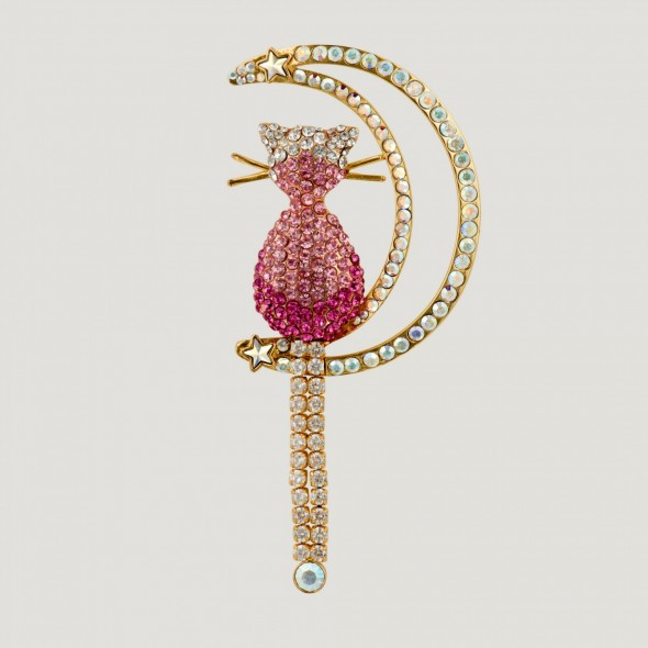 Butler & Wilson PINK CRYSTAL CAT WITH CRESCENT MOON BROOCH – fashion brooches – costume jewellery – crystals – cute cats – animals