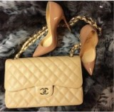 Beige Chanel flap bag & nude Louboutin pumps ~ glamour ~ fashion ~ glamorous accessories