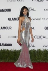 Model Chanel Iman dressed in silver sequins, shimmers at the 2016 Glamour Women Of The Year Awards in Hollywood, California, November 2016. Models at events | star style | celebrity gowns | long metallic cut out dress