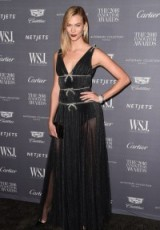 Model Karlie Kloss wearing a sheer black Miu Miu dress at the 2016 WSJ Mag Innovator Awards. Models style | celebrity gowns | long designer dresses | celebrities at events