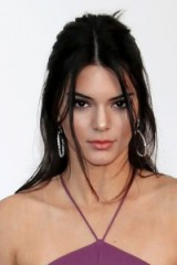 Kendall Jenner's long dark half up half down hair and make up. Models hairstyles | beauty | celebrity hoop earrings