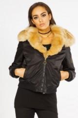 Miss Pap Kiera Black Faux Fur Trim Bomber Jacket. Casual jackets | on-trend outerwear | trending fashion | winter clothing