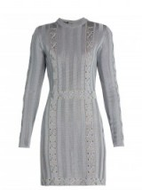 BALMAIN Lace-up satin-knit dress in stone-blue