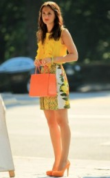 Blair Waldorf in Summer citrus colours ~ gossip girl outfits ~ orange & yellow ~ girly outfit