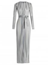 BALMAIN Long-sleeved light grey striped-knit cardigan