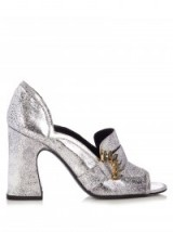 ERDEM Martha metallic silver leather pumps