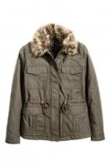 H&M Parka dark khaki green ~ winter jackets ~ coats with faux fur collars