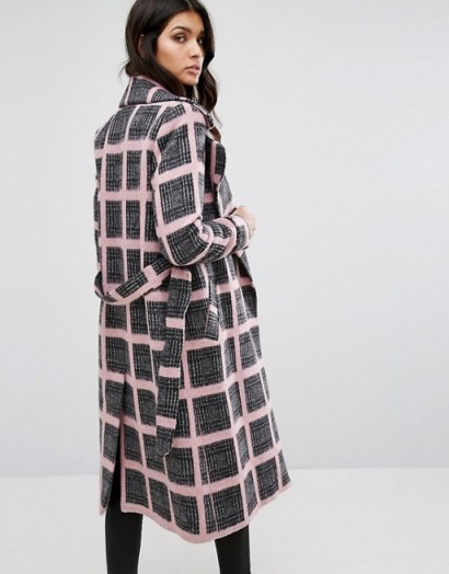 River Island Tailored Belted Check Coat in pink ~ winter coats ~ s ...