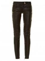 BALMAIN Skinny-leg black leather biker trousers