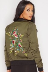 Miss Pap Trinity Khaki Floral Embroidered Bomber Jacket. Casual green jackets | on-trend outerwear | trending fashion