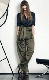 Caroline de Maigret style – stylish French women – olive green front tie trousers & black shirt