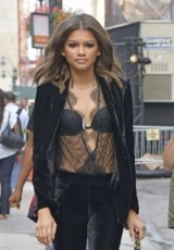 Zendayadressed in black lace and velvet out in New York ~ celebrity street style