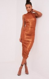pretty little thing ALEXIA COPPER METALLIC HIGH NECK MIDI DRESS – side ruched going out dresses – shimmering evening wear – affordable party fashion
