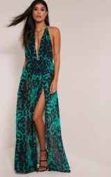 pretty little thing ALINA GREEN LEOPARD PRINT PLUNGE MAXI DRESS – glamorous animal prints – long halter dresses – evening glamour – going out fashion